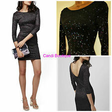 NEW TOPSHOP BLACK GLITTER SPARKLE PARTY EVENING BODYCON PARTY CLUB DRESS