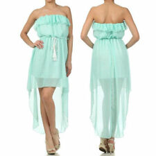 Dress S M L Sheer Chiffon Hi Low Hem Checkered Flounce Strapless Summer Mint New