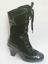DROMEDARIS Nelly Black Suede & Patent Leather Hi Ankle Lace Up Boot  MSRP $199