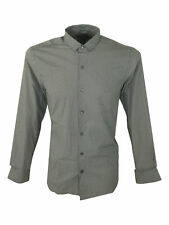 SALE £28 / Mens Peter Werth Small Collar Long Sleeved Shirt In Grey Size Medium