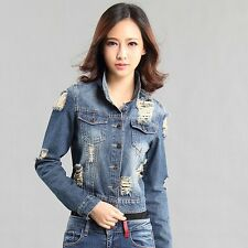 Stylish Womens Slim Fit Long Sleeve Denim Short Jean Coat Jacket Outerwear New