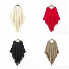 Fashion Women Batwing Cape Poncho Knit Top Pullover Sweater Coat Outwear Jacket