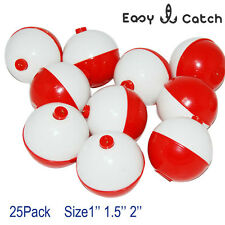 25pcs/pack Hard ABS Snap-on Floats Red & White Push Fishing Button Float Bobbers