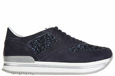 HOGAN GIRLS SHOES CHILD SUEDE LEATHER SNEAKERS NEW J222 BLUE 342