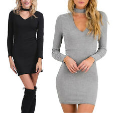 Sexy Women Long Sleeve V-Neck Bandage bodycon Cocktail Party Mini Dress Clubwear