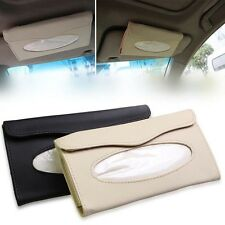 Car Auto PU Leather Clip Sun Visor Tissue Box Paper Case Cover Napkin Holder New