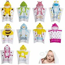 NEW Kids Children Boy Girl Hooded Poncho Swim Beach Bath Towel Bathrobes Cotton