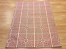 Geometric Silky BE SQUARE Plantation RED Handmade Modern RUG 120x170cm -30%OFF