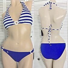 NWT $110 RALPH LAUREN SWIMWEAR 2pc BIKINI BLUE & WHITE STRIPE MED/SML or MED/LRG