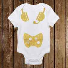 Geeky Baby Onesie Born Gamer- Baby Girl or Boy - Headset - Nerd Baby Awesome