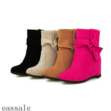 Sweet Winter Faux Suede Womens Bow Wedge Heels Shoes Ankle Boots Size Slip On