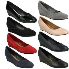 VENDRA BLOOM LADIES CLARKS SUEDE LEATHER SLIP ON WEDGE OFFICE SMART COURT SHOES