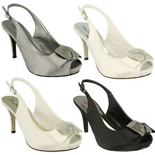 SALE LADIES ANNE MICHELLE PEEP TOE SATIN MID HEEL DIAMANTE COURT SHOES F10254