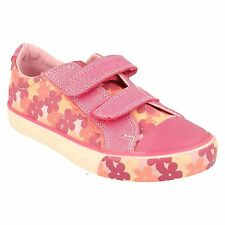 SALE GRACIE MAE GIRLS CLARKS HOT PINK FLORAL PRINT DESIGN CANVAS PUMPS SHOES