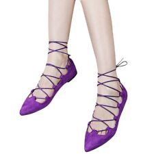 Women Ladies Flat Lace Up Cut Out Pointed Toe Ballerina Strappy Pumps Shoes ICA