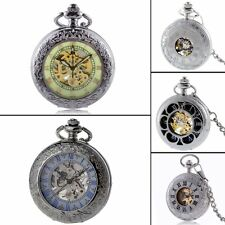 Antique Steampunk Skeleton Windup Mechanical Pocket Watch Vintage Chain Gift NEW