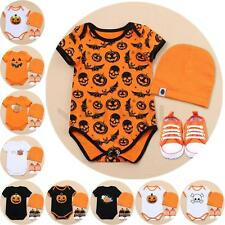 3pcs Halloween Costume Baby Boys Girls Romper Jumpsuit Hat Shoes Outfit Clothes