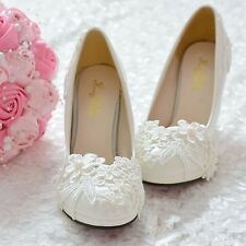 Pearl White Lace Wedding Shoes High-heeled Shoes, Dress Shoes Bridal Shoes 5-10