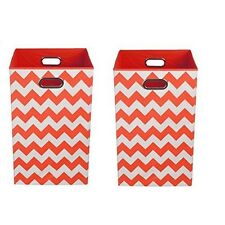 Modern Littles Organization Bundle Laundry Bins, Bold Red Chevron, 2 Count