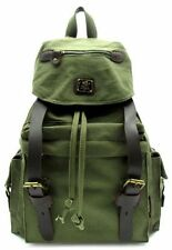 Military Canvas Leather Multifunctional Backpack 16in Travel Rucksack Schoolbag