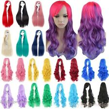 Long Cosplay Full Wig Curly Straight Anime Hair Wig Blonde Black Pink Purple Red
