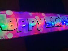 Pink Flashing light up LED Happy Birthday banners age 1st-60th party decorations