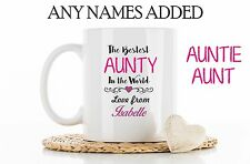 Personalised Best Aunty Auntie Aunt Mug Cup Coaster Christmas Birthday Gift