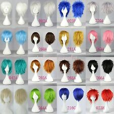 Fluffy Cool Short Straight Hair Wig Women Men Anime Cosplay Synthetic Full Wigs