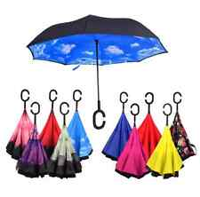 Windproof C-Hook Umbrella Double Layer Hands Free Travel Creative Inverted Fold