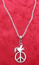 "18"" or 24 Inch Necklace & Dove of Peace Charm Pendant CND Anti War Symbol"