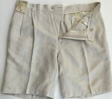 Caribbean Shorts Mens Linen Cotton Pleated Front Natural Size Sz 34 36 40 42 NWT