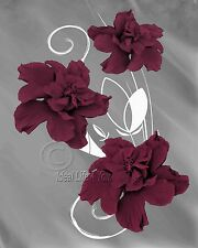 Fine Elegance - Maroon Home Decor Picture Wall Art Floral Flowers 2