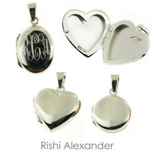Sterling Silver or Vermeil Round Oval Heart Locket with Personalized Monogram