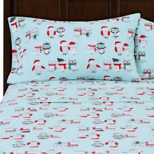 Winter Penguins & Owls Flannel Sheet Sets (King, Queen, Full) soft and cozy