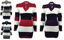 WOMENS JUMPER DRESS LADIES LONG SLEEVE STRETCH V NECK STRIPED KNITTED TUNIC TOP