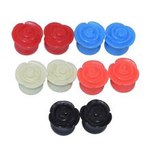 2piece Acrylic Ear Tunnel Plugs Ear Stretching Detailed Rose Candy Colors Flower
