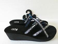 New Women's Teva Black White Mush Mandalyn Ola 2 Wedge Slide on Sandals 7, 9, 10