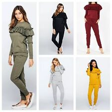 WOMENS LADIES RUFFLE FRILL DETAIL TOP & JOGGER LOUNGE WEAR CO ORD SET TRACKSUIT