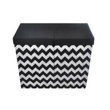 Modern Littles Bold Folding Double Laundry Basket, Black and White Chevron