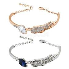 Elegant Rhinestone Crystal Cuff Bracelet Women Angel Wings Cuff Bangle Bracelet