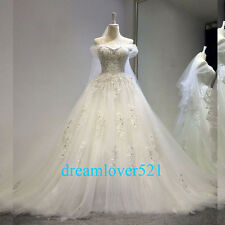 New White/ivory Lace Wedding Dresses Bridal Gown Custom Size 6-8-10-12-14-16 18+