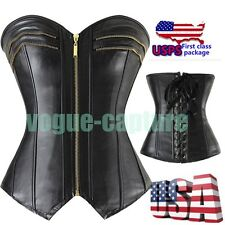 Women Plus Size Lingerie S-2XL Bustier Fetish Faux Leather Corset Top +G string