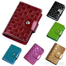 Woman Lady Patent Leather ID Credit Card Case Holder Pocket Bag Wallet Retro