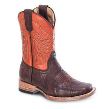 New Kids Youth Brown Rodeo Western Leather Cowboy Boots BONANZA 3302 Size 7-1.5
