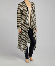 CANAR Olive Multi Chevron Long Cardigan Sweater Open Front Draped Plus Size