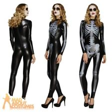 Sexy Skeleton Costume Miss Whiplash Fancy Dress Catsuit Fever Halloween Outfit