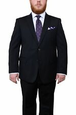 Lazetti Couture Portly Fit Black Pinstriped Two Button Super 130's Wool Suit
