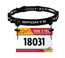 X31 Sports® Race Number Belt, Reflective Triathlon Bib Holder with 6 Fuel Loops