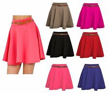 New Women Ladies Belted Skater Flared Jersey Plain Mini Party Dress Skirt 8-14