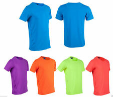 Adults Plain Fluoro T-shirt |Mens Sports Gym Activewear Cool Dry Tee Size XS-3XL